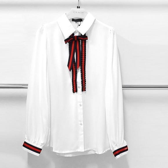 Gracia Printed Long Button Down Shirt